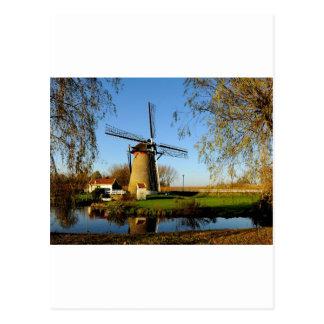 Cartão Postal paisagem de Netherland do moinho de vento