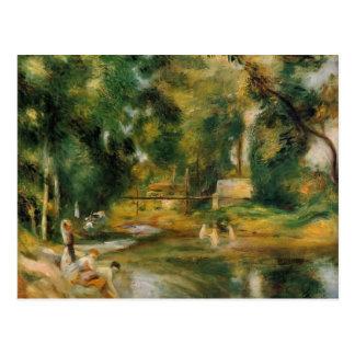 Cartão Postal Paisagem de Pierre Renoir-Essoyes, Washerwoman,