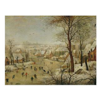 Cartão Postal Paisagem do inverno com armadilha do pássaro (óleo