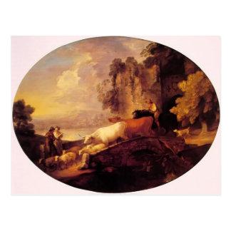 Cartão Postal Paisagem do rio de Thomas Gainsborough-, amantes