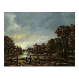 Cartão Postal Paisagem enluarada do rio com casas de campo