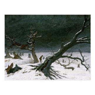 Cartão Postal Paisagem nevado do inverno - Friedrich