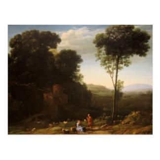 Cartão Postal Paisagem pastoral de Claude Lorrain- com um moinho