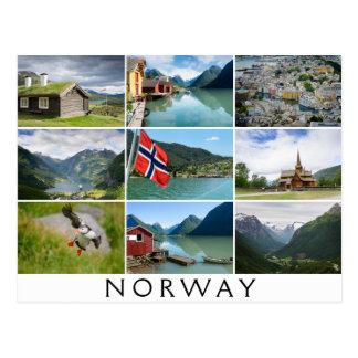 """Cartão Postal Paisagens e o texto: """"Noruega"""" na colagem"""