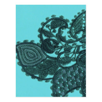 Cartão Postal Paisley boémio azul e verde