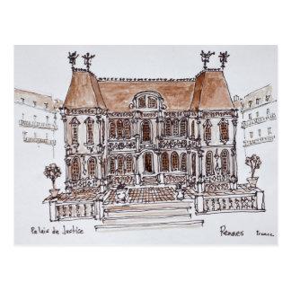Cartão Postal Palais de Justiça Tribunal   Rennes, Brittany