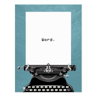"""Cartão Postal """"Palavra. Do """"turquesa da máquina de escrever"""