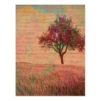 Cartão Postal Palavras abstratas do prado da árvore dos Pastels