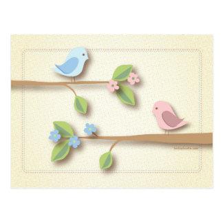 Cartão Postal Palavras doces do chá de fraldas do passarinho do