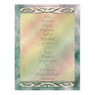 Cartão Postal Palavras em mudança da vida da cor da picareta de
