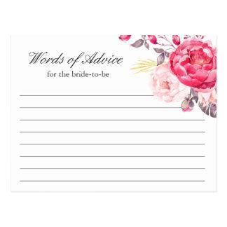Cartão Postal Palavras florais do ouro cor-de-rosa da aguarela