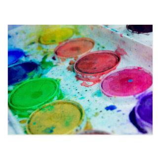 Cartão Postal Paleta colorido da pintura da aguarela