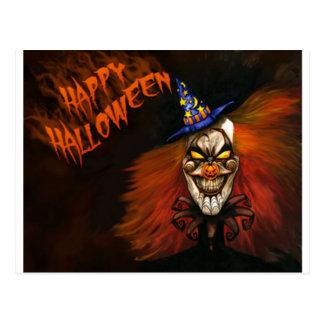 Cartão Postal Palhaço assustador feliz do Dia das Bruxas