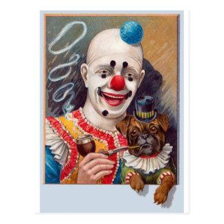 Cartão Postal Palhaço de circo do vintage com seu cão do Pug do