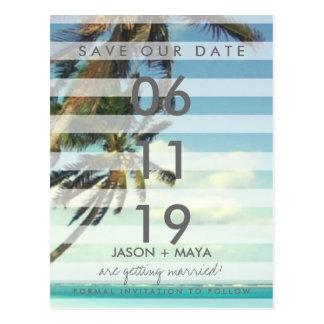 Cartão Postal Palmas tropicais da praia que Wedding economias a