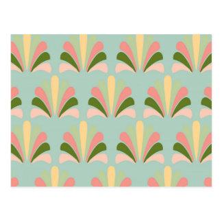 Cartão Postal Palmette amarelo verde cor-de-rosa abstrato do