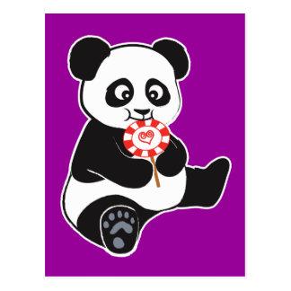 Cartão Postal Panda com pirulito