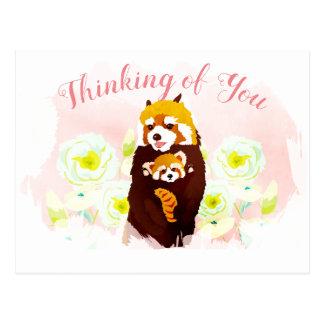 Cartão Postal Panda vermelha floral cor-de-rosa que pensa de