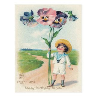 Cartão Postal Pansies bonitos do amor perfeito de Little Boy