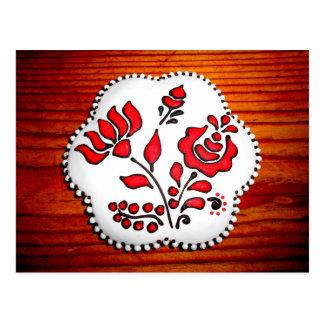 Cartão Postal Pão-de-espécie com motivos húngaros