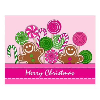 Cartão Postal Pão-de-espécie cor-de-rosa bonitos do Natal