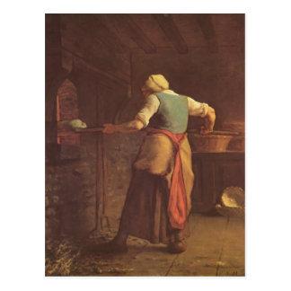 Cartão Postal Pão do cozimento da mulher de Painço de