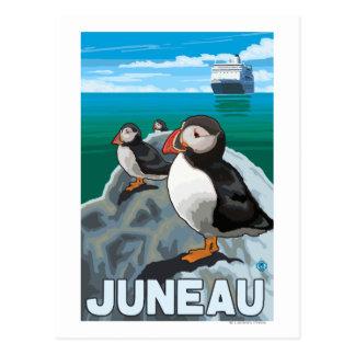 Cartão Postal Papagaio-do-mar & navio de cruzeiros - Juneau,