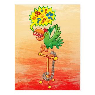 Cartão Postal Papagaio verde furioso que diz palavras más