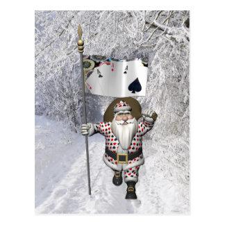 Cartão Postal Papai Noel ama jogar o póquer