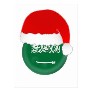Cartão Postal Papai noel, bandeira e chapéu de Arábia Saudita