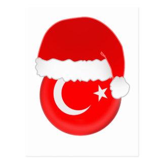 Cartão Postal Papai noel, bandeira e chapéu turcos