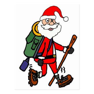 Cartão Postal Papai Noel bonito que caminha desenhos animados do