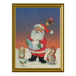 Cartão Postal Papai noel, canções de natal do canto com os