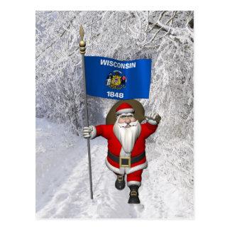 Cartão Postal Papai Noel com a bandeira de Wisconsin