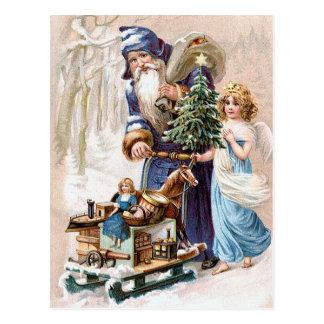 Cartão Postal Papai Noel com anjo