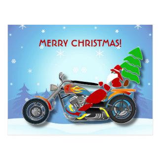 Cartão Postal Papai noel do Natal que monta a bicicleta do