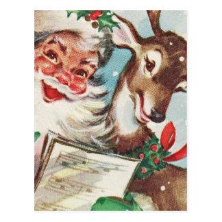 Cartão Postal Papai noel e rena do vintage