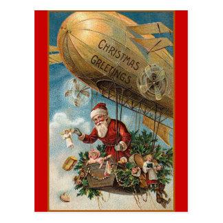Cartão Postal Papai noel e seu dirigível