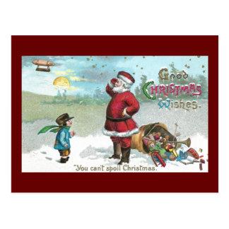 Cartão Postal Papai noel encalhado na neve