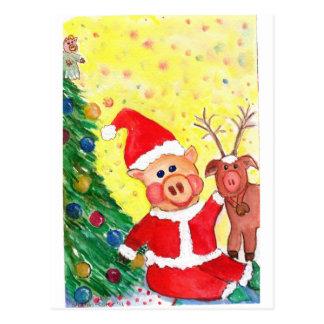 Cartão Postal Papai noel leitão e Rédea-porco do bebê pela
