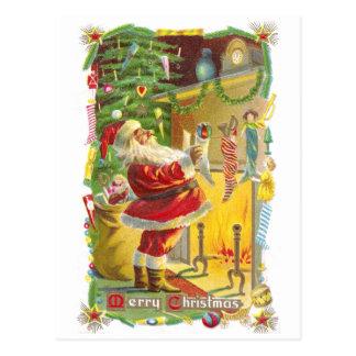 Cartão Postal Papai noel, meias e natal vintage das estrelas