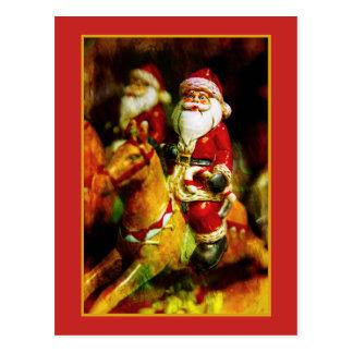 Cartão Postal Papai Noel no carrossel