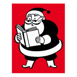 Cartão Postal Papai noel preto & branco do vintage da leitura no