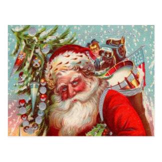 Cartão Postal Papai noel que abraça crianças