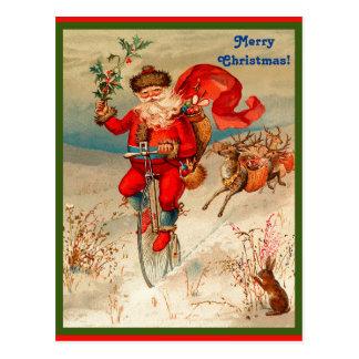 Cartão Postal Papai Noel raro no Velocipede perseguido pela rena