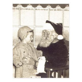 Cartão Postal Papai noel sumário do armazém cerca de 1956.