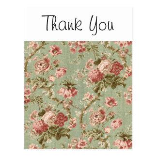 Cartão Postal Papel de parede floral do vintage, cor-de-rosa no