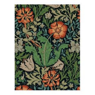 Cartão Postal Papel de parede floral Morris na moda Compton do