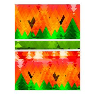Cartão Postal Papel de parede temático da queda verde alaranjada