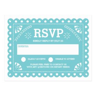 Cartão Postal Papel Picado que Wedding RSVP